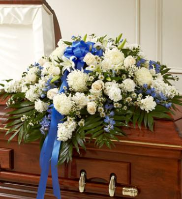 Blue & White Cherished  Rose Half Casket Cover