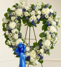 Always Remember Blue & White Floral Heart Tribute