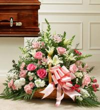 Sincerest Sympathies Fireside Basket-Pink & White